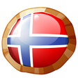 norway flag on round frame vector image vector image