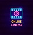 online cinema neon label vector image