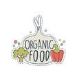 organic shop logo design label for healthy food vector image vector image