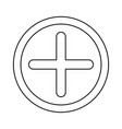 plus icon in circle in monochrome silhouette vector image vector image