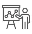 presentation line icon education and seminar vector image vector image