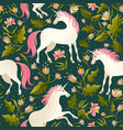 seamless pattern with beautiful unicorns vector image vector image