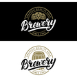 set brewery hand written lettering logo label vector image vector image
