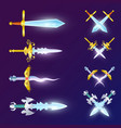 set of crossed epic swords vector image vector image