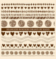 set of hand drawn seamless borders vector image vector image