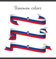 Set of three ribbons with the slovenian tricolor vector image