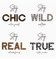 set slogan t-shirt with gold chain camouflage vector image vector image