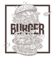 sketch monochrome poster with flying burger vector image vector image