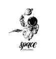 space exploration handwritten phrase drawn vector image