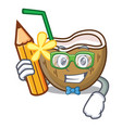 student cocktail coconut character cartoon vector image vector image