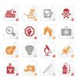 stylized ebola pandemic icons vector image