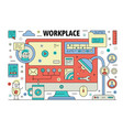 thin line workplace poster banner template vector image