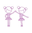 two ballet girl dance standing in pose vector image