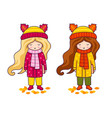 two cute little girls in coats and big knitted vector image vector image