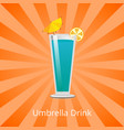 umbrella drink blue lagoon decorate by lemon slice vector image