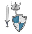 viking armor set - helmet shield and sword vector image
