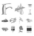 water filtration system monochrome icons in set vector image vector image