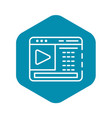 web video blog page icon outline style vector image vector image