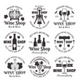 wine shop set of black vintage emblems vector image vector image