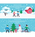 Winter Season 2 Flat Banners Set vector image vector image