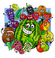 witty fruit characters group cartoon vector image vector image