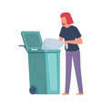 woman collecting garbage girl throws trash bag vector image