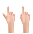 womans hand pointing with finger realistic vector image vector image