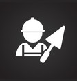 worker with spatula on black background vector image