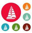 yacht modern icons circle set vector image