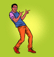 young man points fingers african american people vector image vector image