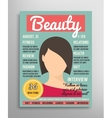 Magazine cover template about beauty fashion and vector image