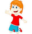 happy kids cartoon vector image