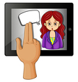 A gadget with a woman having a rectangular callout vector image