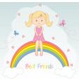 beautiful little girl sitting on the rainbow vector image