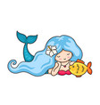 beautiful lying dreamy mermaid with long wavy blue vector image