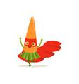 cartoon character of superhero carrot have fun vector image vector image