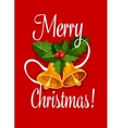Christmas bell with holly berry greeting card vector image vector image