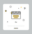 clapperboard icon on white square vector image