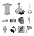 country greece monochrome icons in set collection vector image