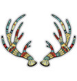 deer antlers with native ornament vector image vector image