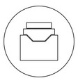 documents archieve or drawer black icon outline vector image