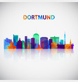dortmund skyline silhouette in colorful geometric vector image vector image