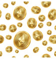 ethereum seamless pattern gold coins vector image
