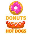 fastfood logo donuts and hotdog symbol vector image