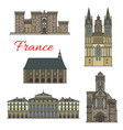 French travel landmark icons with tourist sights