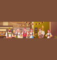 group of people drink beer in bar oktoberfest vector image vector image