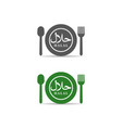 halal logo design with spoon plate and fork vector image vector image