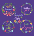 hand drawn summer flowers wreaths with text hello vector image