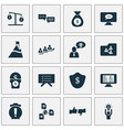 job icons set with warning alarm 5-star review vector image