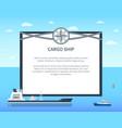 long cargo ship colorful card vector image vector image